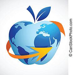 manzana, resumen, global, -, aldea, tecnología