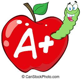 manzana roja, carta, gusano