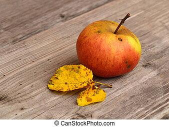 manzana roja, con, hojas