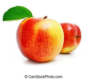 manzana roja, fruta, con, hojas verdes