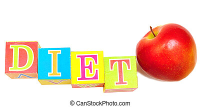 manzana roja, y, cubos, con, cartas, -, dieta