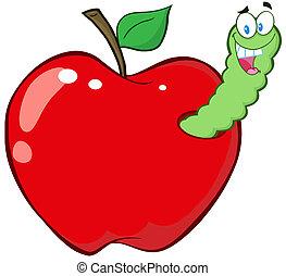 manzana, rojo, gusano