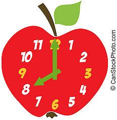 manzana, rojo, reloj