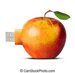 manzana, tarjeta rápida, -, nueva tecnología, concepto