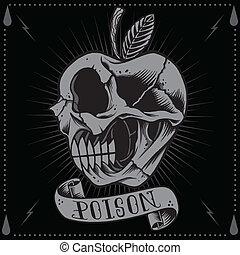 manzana, veneno, cráneo