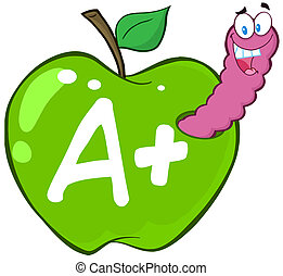 manzana verde, carta, gusano
