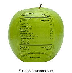 manzana verde, con, hechos nutrición