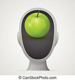 manzana verde, dentro, cabeza, silhouette.