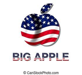 manzana, y, grande, rayas, diseño, estrellas