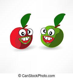 manzanas, reír, dos, histéricamente