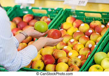 manzanas, supermercado, comprador, comprar