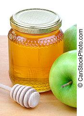 manzanas verdes, y, miel