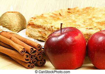 manzanas, y, canela, -, torta de manzana