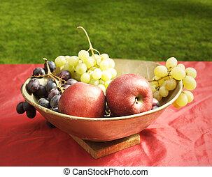 manzanas, y, uvas