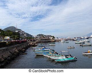 manzanillo, ボート, 残り, 港, 小さい