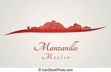 Manzanillo skyline in red