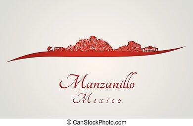 manzanillo, sylwetka na tle nieba, w, czerwony