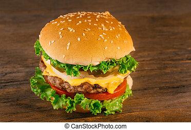manzo, cheeseburger, casalingo, appetitoso, pomodoro, formaggio, patty