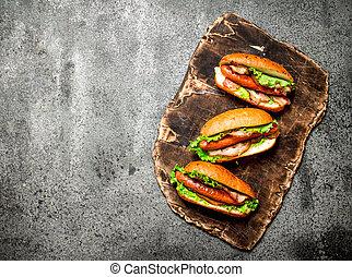 manzo, cibo, pancetta affumicata, menu., digiuno, caldo, herbs., barbecue, cani