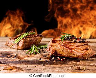 manzo, cotto ferri, bistecche