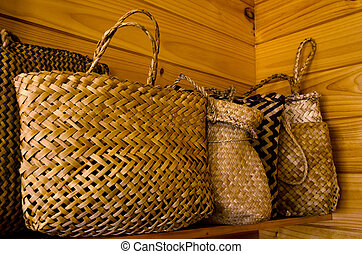 maorí, lino, bolsas