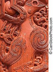 Maori Carving - Detail of an old beautiful maori carving,...