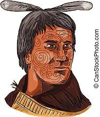 Maori Chief Warrior Bust Watercolor - Watercolor style...