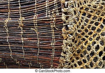 maori, hölzern, fangnetz, details