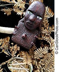 maori, hölzern, schnitzerei