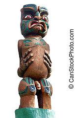 maori, intagliato, guerriero