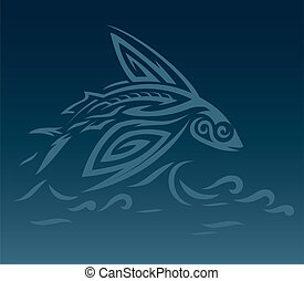 Maori Malolo - Abstract flying fish leaping over waves