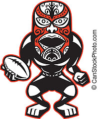 Maori Mask Rugby Player standing With Ball - Illustration of...