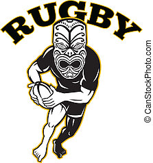maori-rugby-player-mask-front-run - Illustration of a Maori...