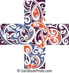 Maori style cross shape - Maori tribal style tattoo cross...
