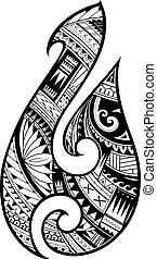 Maori style tattoo. Aboriginal fish hook symbol