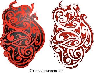 Maori style tattoo as heart shape