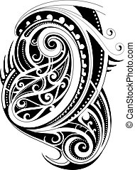 Maori ethnic style tattoo shape on white backdrop