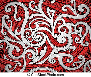 Polinesian Maori ethnic ornament using a traditional red black and wihe motifs