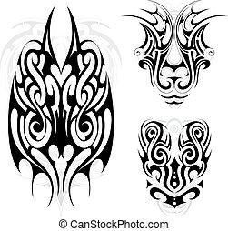 Maori tribal tattoo set