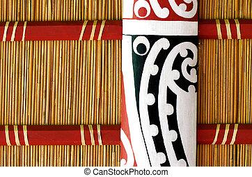 Maori wall carvings in a Marae (meeting house).
