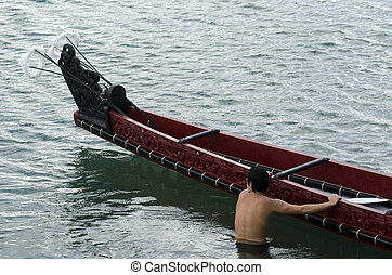 Maori War Waka Canoe - TAIPA, NZ - MAY 18:Maori War Waka on ...
