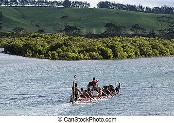 Maori War Waka Canoe - TAIPA,NZ - MAY 18:Maori War Waka on...
