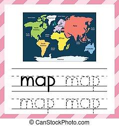 map., 跡, 単語, worksheet, kids., 教育, 練習, 材料, 追跡, -