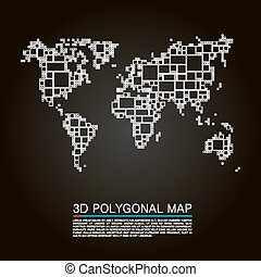 Map 3d polygon art cube