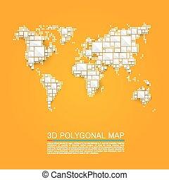 Map 3d polygon art cube