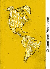 Map Aamerica vintage yellow