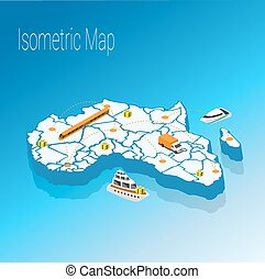 Map Africa isometric concept.