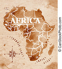 Map Africa retro - Map of Africa in old style in vector...