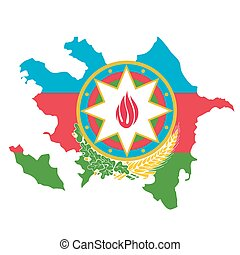Map and emblem of Azerbaijan in flag colors