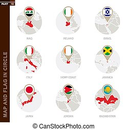 Map and Flag in a circle of 9 Countries